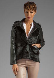 10 CROSBY DEREK LAM Leather Sleeve Fur Jacket in Black at Revolve