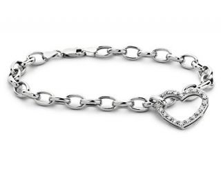 Diamond Heart Charm Bracelet in 14k White Gold (1/4 ct. tw.)  Blue