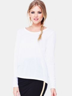 Love Label Dipped Back Long Sleeve Top   White Littlewoods
