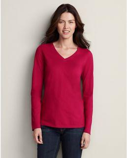 Pima Cotton Jersey Long Sleeve V Neck T Shirt  Eddie Bauer