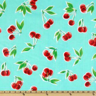 Oil Cloth Stella Cherries Aqua   Discount Designer Fabric   Fabric