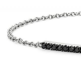 Black Diamond Bar Bracelet in 14k White Gold  Blue Nile