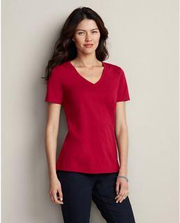 Pima Cotton Jersey Short Sleeve V Neck T Shirt  Eddie Bauer
