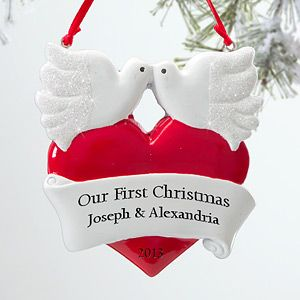 Personalized Romantic Christmas Ornaments   Love Birds   12277
