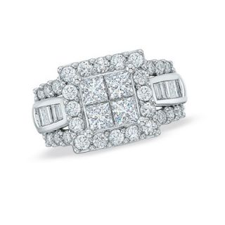 CT. T.W. Princess Cut Quad and Baguette Diamond Engagement Ring in
