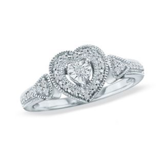 CT. T.W. Diamond Heart Promise Ring in Sterling Silver   Size 7