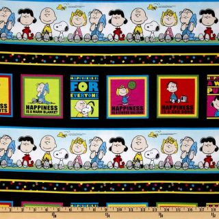 Happiness Is…Peanuts Border Stripe Black   Discount Designer Fabric