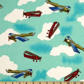 Flannel Planes Aqua/Multi   Discount Designer Fabric   Fabric