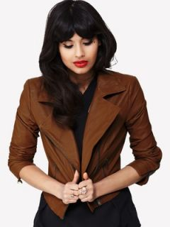 Jameela Jamil Leather Jacket with Shoulder Pad Littlewoods