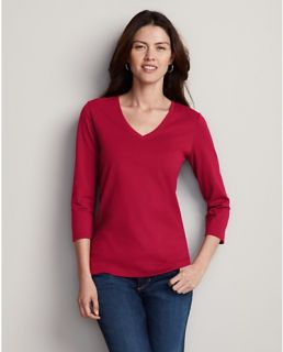 Pima Cotton Jersey 3/4 Sleeve V Neck T Shirt  Eddie Bauer