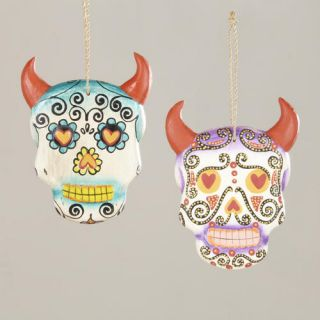 Hanging Los Muertos Skulls with Horns, Set of 2  World Market