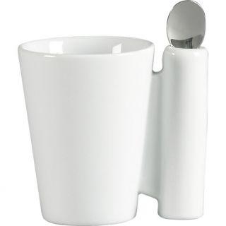 spoon coffee mug white with stainless steel spoon in dinnerware  CB2