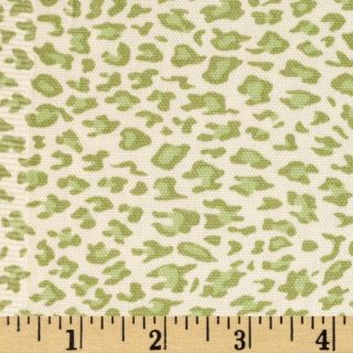 Leopard Cotton Duck Ivory/New Green   Discount Designer Fabric