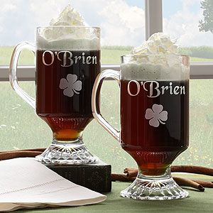 Personalized Glass Irish Coffee Mug Set   Four Leaf Clover   1268