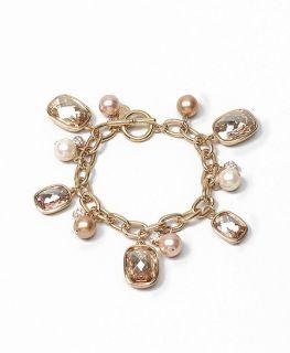 Gold Wash Crystal Pearl Charm Bracelet   Brooks Brothers