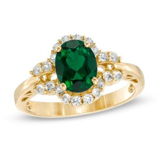 Oval Lab Created Emerald and White Sapphire Ring in 14K Gold   Rings
