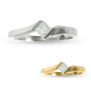 10 CT. T.W. Princess Cut Diamond Bypass Promise Ring in 14K Gold