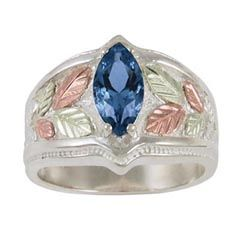 Black Hills Gold Marquise Lab Created Sapphire Ring in Sterling Silver