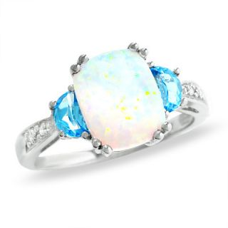 Cushion Cut Lab Created Opal and Blue Topaz Ring in 14K White Gold