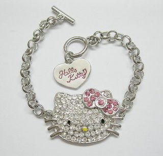 Cute Pink Bow Hello Kitty CRYSTAL Bracelet for Girl Birthday party