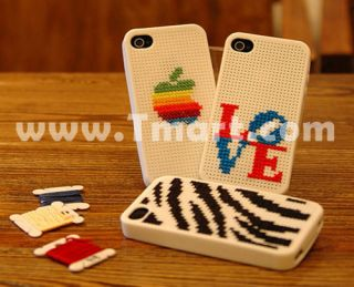 Cross Stitch Series Silicone Case for iPhone 4 Milk White   Tmart