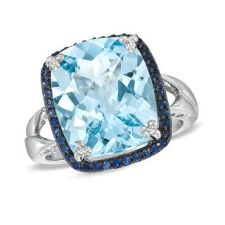 Cushion Cut Sky Blue Topaz and Lab Created Sapphire Ring in Sterling
