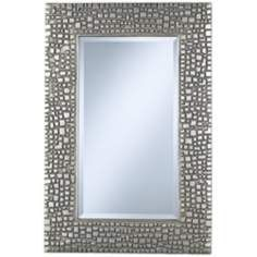 Textured Relief 36 High Silver Wall Mirror