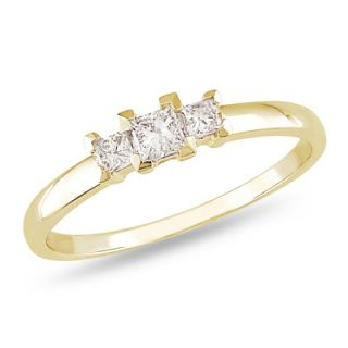 CT. T.W. Princess Cut Diamond Three Stone Ring in 10K Gold   View