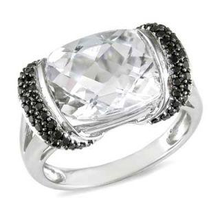 Cushion Cut White Topaz and 1/4 CT. T.W. Enhanced Black Diamond Ring