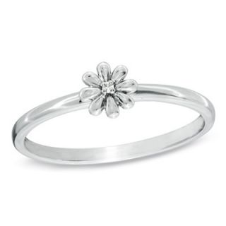 Stackable Diamond Accent Flower Ring in 10K White Gold   Rings   Zales