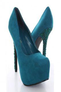 Teal Faux Suede Platform Pump Gemstone Heels @ Amiclubwear Heel Shoes