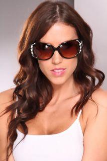 Home / Black Brown Rhinestone Studded Gradient Tinted Sunglasses