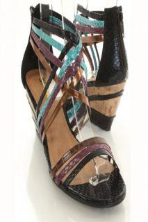 Black Snake Skin Faux Leather Strappy Open Toe Wedges @ Amiclubwear