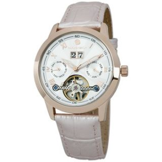 Reichenbach Ladies Light Pink/Silver/Rose Gold Leather Strap Watch