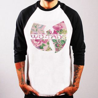 WU TANG CLAN flower rap hip hop music Baseball t shirt 3/4 sleeve