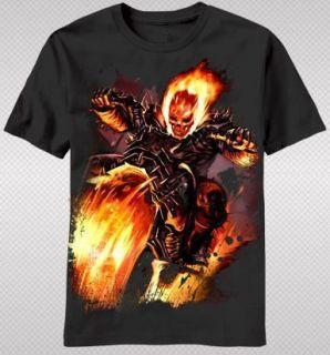 NEW Ghost Rider Motorcycle Flaming Skull Fire Evil Hero Marvel T shirt