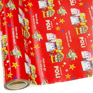 ] KIDS ROBOCAR POLI Bulk Roll Wrapping Gift Paper Metalic Roll RED