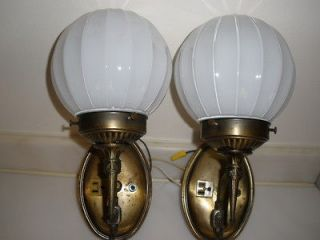 Vintage Globe Lights Electric Wall Sconces Pair