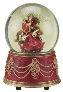 Christmas Red and Gold Angel Musical Holiday Christmas Snow Globe