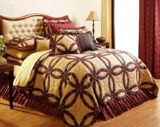 Golden Tan Burgundy Classic Wedding Ring Quilt Twin Queen Cal King
