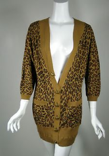 MIKE GONZALEZ Brown Leopard Cardigan Sweater Size Medium
