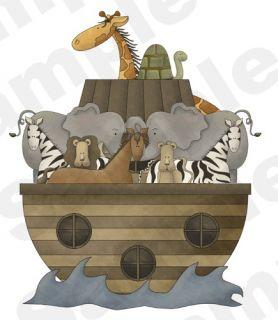 NOAHS ARK ZEBRAS GIRAFFES TURTLES ELEPHANT HORSE NURSERY CHILDRENS
