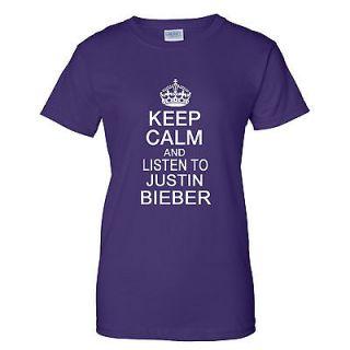 CALM AND LISTEN TO JUSTIN BIEBER LADIES T Shirt XS 3XL BIEBER FEVER