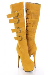 Mustard Faux Suede Buckle Strapped AMIclubwear Boots @ Amiclubwear