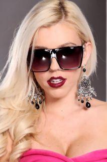 Black Plastic Frame Side Silver Detail Sunglasses @ Amiclubwear