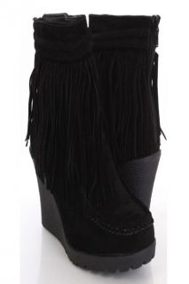 Black Faux Suede Fringe Trim Moccasin Booties Wedges @ Amiclubwear