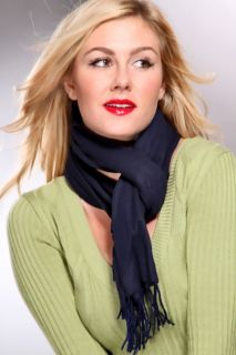 Navy Solid Print Fringed Fleece Scarf @ Amiclubwear scarf Online Store