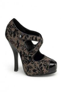Brown Tweed Fabric Platform Criss Cross Pump Heels @ Amiclubwear