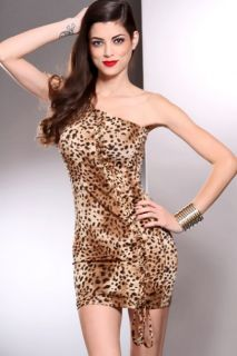Home / Leopard Print One Shoulder Strap Lace Up Sides Sexy Dress