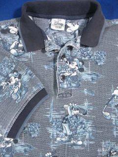 Navy & White Mickey Mouse Golf Print Polo Shirt Mens M